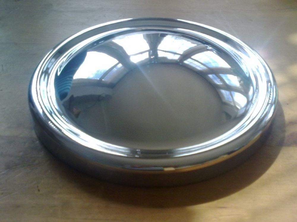 MGA BRAND NEW CHROME HUB CAPS X 4 MADE IN ENGLAND (FREE UK POST)